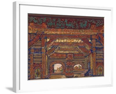 The Palace of Tsar Berendey, Stage Design for the Theatre Play Snow Maiden by A. Ostrovsky, 1912-Nicholas Roerich-Framed Giclee Print
