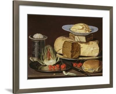 Still Life with Cheeses, Artichoke, and Cherries, Ca 1625-Clara Peeters-Framed Giclee Print