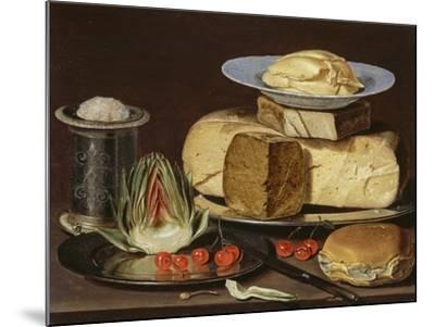 Still Life with Cheeses, Artichoke, and Cherries, Ca 1625-Clara Peeters-Mounted Giclee Print