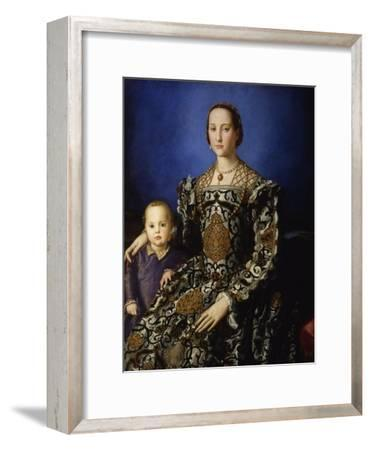 Portrait of Eleanor of Toledo with Her Son Giovanni, Ca 1545-Agnolo Bronzino-Framed Premium Giclee Print