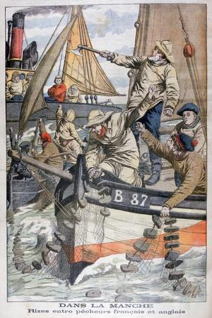 Dispute Between French and English Fishermen in the Channel, 1904--Stretched Canvas Print
