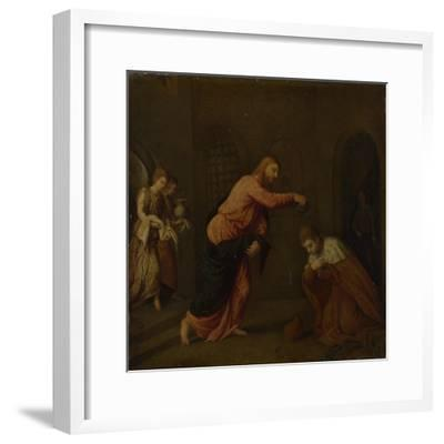 Christ Baptising Saint John the Martyr of Alexandria, C. 1565-Paris Bordone-Framed Giclee Print