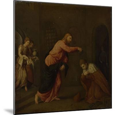 Christ Baptising Saint John the Martyr of Alexandria, C. 1565-Paris Bordone-Mounted Giclee Print