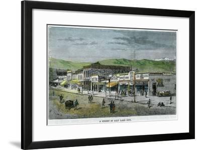 A Street in Salt Lake City, Utah, USA, C1880--Framed Giclee Print
