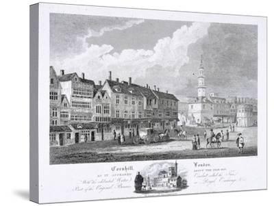 Cornhill, London, 1810--Stretched Canvas Print