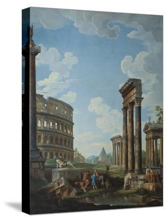 A Capriccio with Figures Among Roman Ruins Including the Arch of Constantine and the Pantheon-Giovanni Paolo Panini-Stretched Canvas Print