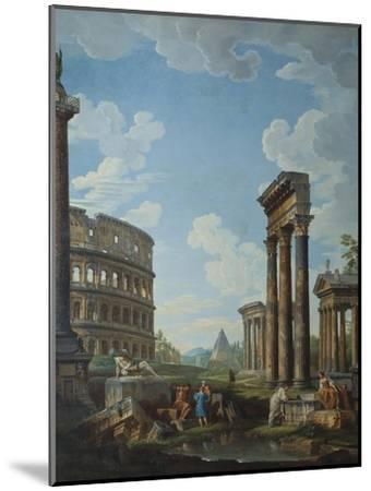 A Capriccio with Figures Among Roman Ruins Including the Arch of Constantine and the Pantheon-Giovanni Paolo Panini-Mounted Giclee Print