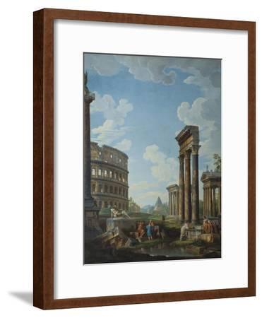 A Capriccio with Figures Among Roman Ruins Including the Arch of Constantine and the Pantheon-Giovanni Paolo Panini-Framed Giclee Print