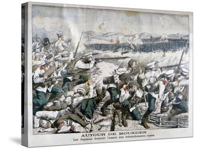 Japanese Troops Attacking Russian Trenches, Mukden, Manchuria, October 1904--Stretched Canvas Print