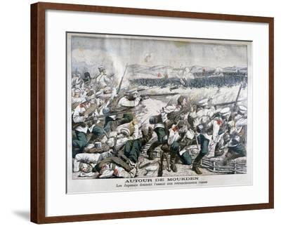 Japanese Troops Attacking Russian Trenches, Mukden, Manchuria, October 1904--Framed Giclee Print
