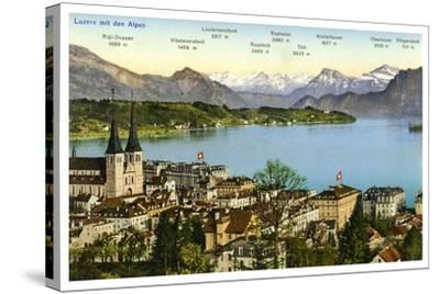 Lucerne and the Alps, Switzerland, 20th Century--Stretched Canvas Print