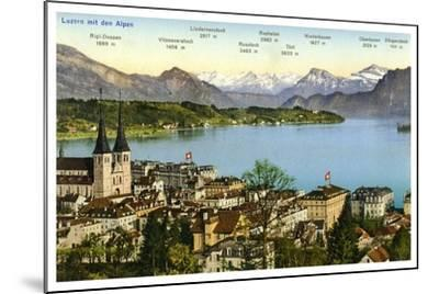 Lucerne and the Alps, Switzerland, 20th Century--Mounted Giclee Print