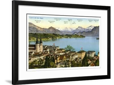 Lucerne and the Alps, Switzerland, 20th Century--Framed Giclee Print