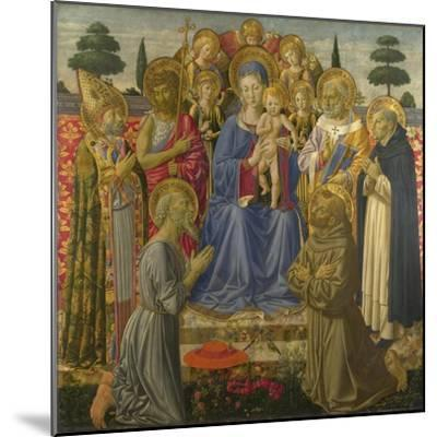 The Virgin and Child Enthroned Among Angels and Saints, 1460S-Benozzo Gozzoli-Mounted Giclee Print