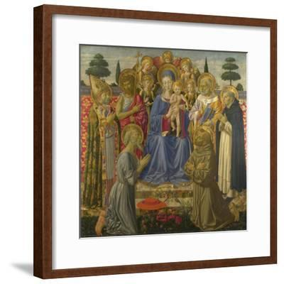The Virgin and Child Enthroned Among Angels and Saints, 1460S-Benozzo Gozzoli-Framed Giclee Print
