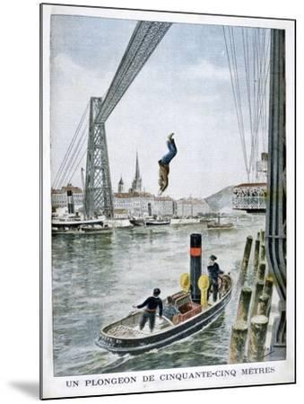 Person Plunges 55 Metres from Portside, Rouen, 1901--Mounted Giclee Print