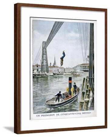 Person Plunges 55 Metres from Portside, Rouen, 1901--Framed Giclee Print