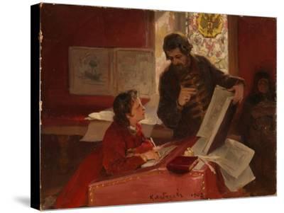 Nikita Zotov Teaches Young Peter I, 1902-Klavdi Vasilyevich Lebedev-Stretched Canvas Print