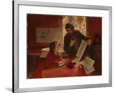 Nikita Zotov Teaches Young Peter I, 1902-Klavdi Vasilyevich Lebedev-Framed Giclee Print