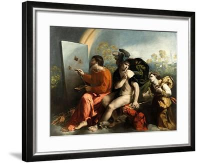 Jupiter, Mercury and the Virtue (Jupiter Painting Butterflie)-Dosso Dossi-Framed Giclee Print