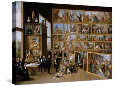 Archduke Leopold Wilhelm in His Gallery in Brussels, Ca 1651-David Teniers the Younger-Stretched Canvas Print