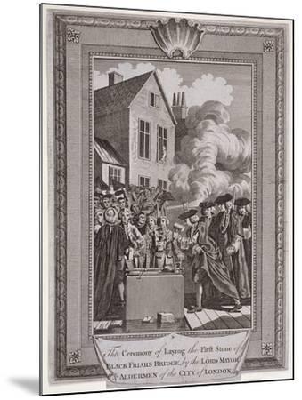 Laying the First Stone of Blackfriars Bridge, London, 1760--Mounted Giclee Print