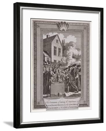 Laying the First Stone of Blackfriars Bridge, London, 1760--Framed Giclee Print