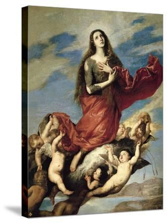 Mary Magdalene Taken Up to Heaven-Jos? de Ribera-Stretched Canvas Print
