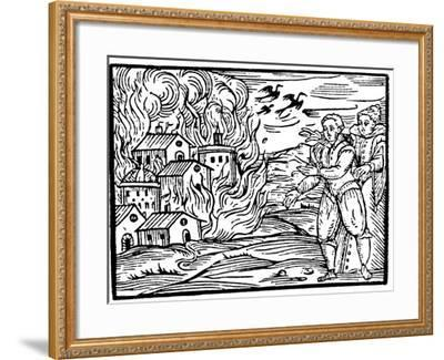 Witches Destroying a House by Fire - Swabia, 1533--Framed Giclee Print