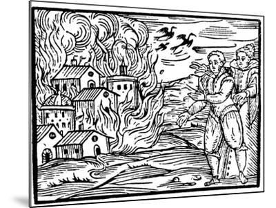Witches Destroying a House by Fire - Swabia, 1533--Mounted Giclee Print