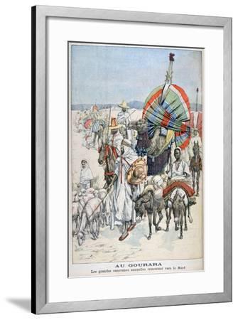 The Large Annual Caravans Heading North, Gourara, Algeria, 1903--Framed Giclee Print
