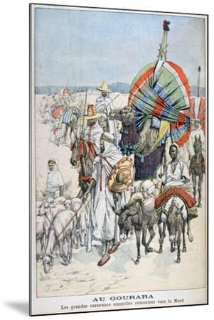 The Large Annual Caravans Heading North, Gourara, Algeria, 1903--Mounted Giclee Print