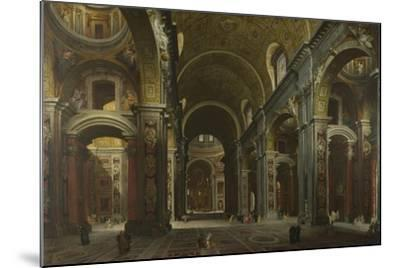 Interior of the Basilica of Saint Peter in Rome, before 1742-Giovanni Paolo Panini-Mounted Giclee Print