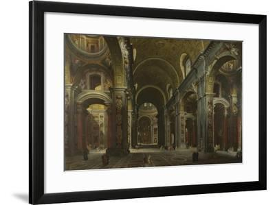 Interior of the Basilica of Saint Peter in Rome, before 1742-Giovanni Paolo Panini-Framed Giclee Print