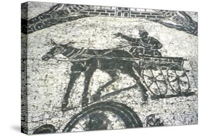 Roman Cart, Mosaic from the Frigidarium, Ostia, Italy, C150--Stretched Canvas Print