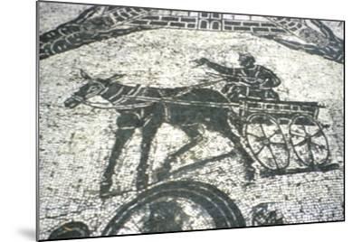 Roman Cart, Mosaic from the Frigidarium, Ostia, Italy, C150--Mounted Giclee Print
