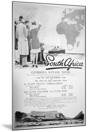 Advert for Winter Tours of South Africa, 1928--Mounted Giclee Print