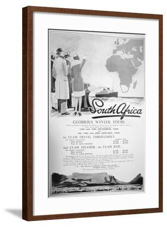 Advert for Winter Tours of South Africa, 1928--Framed Giclee Print