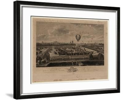 The Balloon of Jean-Pierre Blanchard Ascending from Lille on August 26, 1785-Louis Watteau-Framed Giclee Print