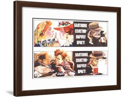 Talks, Rumours are to the Foe's Good, 1954-Veniamin Markovich Briskin-Framed Giclee Print