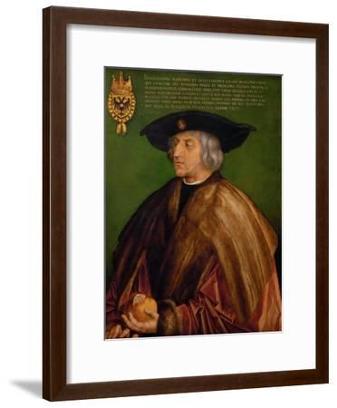 Portrait of Emperor Maximilian I (1459-151), 1519-Albrecht D?rer-Framed Premium Giclee Print
