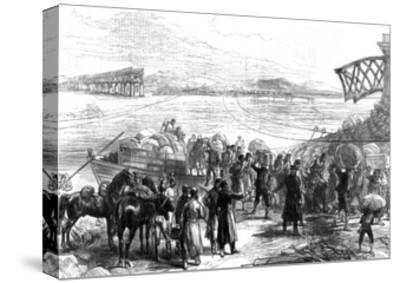 Crossing the Ebro at Castijon; War in Spain, 1875--Stretched Canvas Print