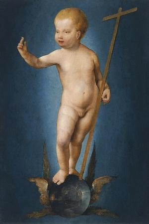 The Infant Christ on the Orb of the World, Ca 1530-Joos Van Cleve-Stretched Canvas Print
