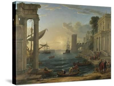 Seaport with the Embarkation of the Queen of Sheba, 1648-Claude Lorraine-Stretched Canvas Print