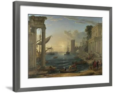 Seaport with the Embarkation of the Queen of Sheba, 1648-Claude Lorraine-Framed Giclee Print