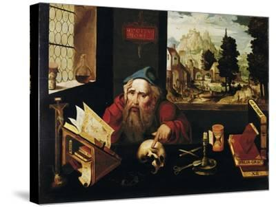Saint Jerome in His Cell, 1520S-Joos Van Cleve-Stretched Canvas Print