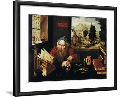 Saint Jerome in His Cell, 1520S-Joos Van Cleve-Framed Giclee Print