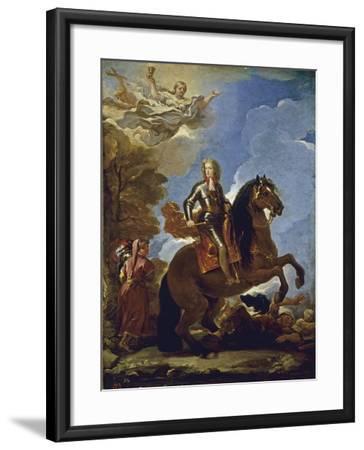Equestrian Portrait of Charles II of Spain, before 1694-Luca Giordano-Framed Giclee Print