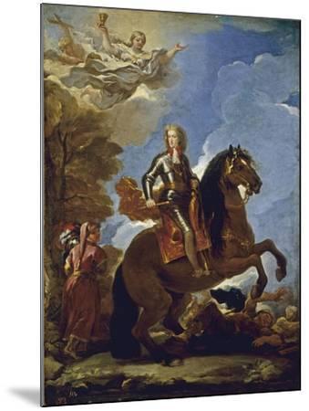 Equestrian Portrait of Charles II of Spain, before 1694-Luca Giordano-Mounted Giclee Print