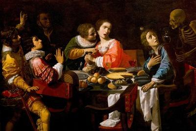 Death Comes to the Banquet Table (Memento Mor), C. 1635-Giovanni Martinelli-Framed Giclee Print
